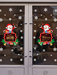 cheap -Santa Claus Window Film & Stickers Decoration Happy New Year / Christmas Holiday / Character PVC(PolyVinyl Chloride) Window Sticker / Door Sticker / Lovely