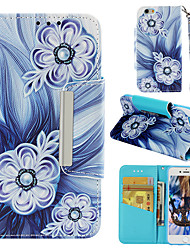 cheap -Case For Apple iPhone 6s Wallet / Card Holder / Flip Back Cover Flower Hard PU Leather