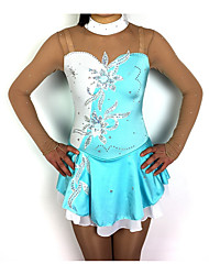 cheap -Figure Skating Dress Women's Girls' Ice Skating Dress Sky Blue+White Patchwork Spandex High Elasticity Competition Skating Wear Classic Long Sleeve Figure Skating / Kids