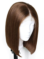 cheap -Virgin Human Hair Remy Human Hair Lace Front Wig Bob Layered Haircut style Brazilian Hair Natural Straight Silky Straight Dark Brown Wig 150% Density Soft Natural Natural Hairline African American
