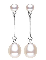 cheap -Freshwater Pearl Earrings Pearl S925 Sterling Silver For Women's Drops Simple Style Sweet Fashion Date Birthday Party High Quality Classic Lucky 1 Pair