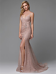 cheap -Mermaid / Trumpet Spaghetti Strap Sweep / Brush Train Lace Pastel Colors Formal Evening Dress with Beading / Split Front 2020