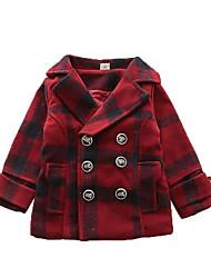 abordables -Enfants Garçon Actif Couleur Pleine Tartan Manches Longues Veste & Manteau Rouge