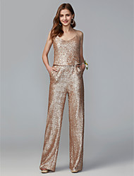 cheap -Jumpsuits Spaghetti Strap Floor Length Sequined Bridesmaid Dress with Sequin / Two Piece