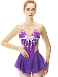 cheap -21Grams Figure Skating Dress Women's Girls' Ice Skating Dress Violet Spandex Stretch Yarn High Elasticity Skating Wear Handmade Fashion Long Sleeve Ice Skating Winter Sports Figure Skating
