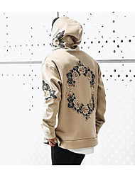 cheap -Men's Hoodie Geometric / Solid Colored Hooded Street chic Long Sleeve White Black Yellow Khaki S M L XL