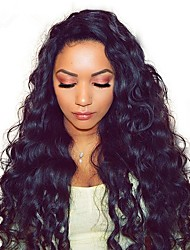 cheap -Remy Human Hair Full Lace Wig Asymmetrical Rihanna style Brazilian Hair Water Wave Loose Curl Natural Black Wig 130% 150% 180% Density Soft Women Best Quality Hot Sale curling Women's Long Human Hair