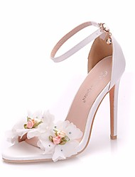cheap -Women's PU(Polyurethane) Spring & Summer Sweet Wedding Shoes Stiletto Heel Peep Toe Satin Flower / Buckle White