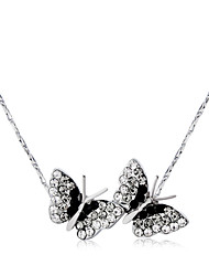 cheap -Women's Clear Cubic Zirconia Necklace Classic Butterfly Romantic Fashion Elegant Silver-Plated Imitation Diamond Alloy Silver 43 cm Necklace Jewelry 1pc For Party Daily
