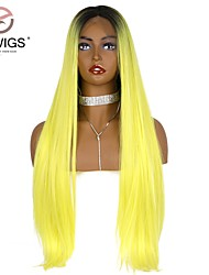 cheap -Synthetic Lace Front Wig kinky Straight Natural Straight Middle Part Glueless Lace Front Lace Front Wig Blonde Long Yellow Synthetic Hair 26 inch Women's with Baby Hair Party Women Blonde EEWigs