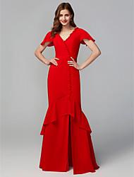 cheap -Sheath / Column V Neck Floor Length Chiffon Bridesmaid Dress with Split Front / Open Back
