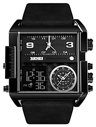 cheap -SKMEI Men's Sport Watch Military Watch Analog - Digital Digital Oversized Luxury Water Resistant / Waterproof Alarm Calendar / date / day / One Year / Genuine Leather