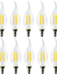 cheap -YWXLIGHT® 10pcs 4 W LED Candle Lights LED Filament Bulbs 300-400 lm E12 C35 4 LED Beads SMD Christmas Wedding Decoration Warm White Cold White 110-130 V
