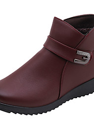 cheap -Women's Boots Low Heel PU Booties / Ankle Boots Casual Winter Black / Brown / Burgundy