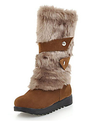 cheap -Women's Boots Flat Heel Round Toe Suede / Faux Fur Mid-Calf Boots Casual Fall & Winter Black / Yellow / Beige