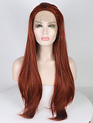 cheap -Synthetic Lace Front Wig Curly Free Part Lace Front Wig Long Dark Red Synthetic Hair 18-26 inch Women's Adjustable Lace Heat Resistant Red