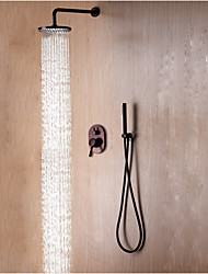 cheap -Shower Set Set - Rainfall Contemporary / Simple / Modern Style Oil-rubbed Bronze Wall Mounted Ceramic Valve Bath Shower Mixer Taps / Brass / Single Handle Three Holes