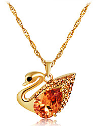 cheap -Women's Orange Crystal Pendant Necklace Classic Swan Romantic Fashion Elegant Gold Plated Imitation Diamond Alloy Gold 43.5 cm Necklace Jewelry 1pc For Party / Evening Daily