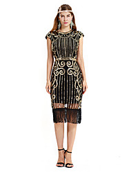 cheap -The Great Gatsby Charleston Retro Vintage 1920s Flapper Dress Dress Women's Sequin Costume Black / Red / Black+Sliver / Golden+Black Vintage Cosplay Party Homecoming Prom Short Sleeve Knee Length