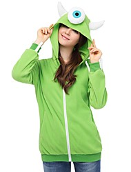 cheap -Adults' Hoodie Kigurumi Pajamas Cartoon Onesie Pajamas Polar Fleece Green Cosplay For Men and Women Animal Sleepwear Cartoon Festival / Holiday Costumes