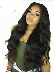 cheap -Virgin Human Hair Remy Human Hair Lace Front Wig Layered Haircut Middle Part Side Part style Brazilian Hair Body Wave Natural Wig 130% Density Soft Natural Natural Hairline African American Wig 100