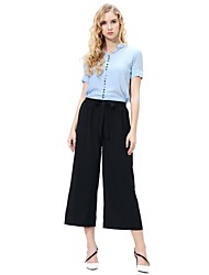 cheap -Women's Daily Beach Loose Wide Leg / Chinos Pants - Solid Colored / Striped Blushing Pink Rainbow Khaki M L XL