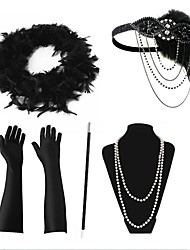 cheap -The Great Gatsby Charleston 1920s The Great Gatsby Roaring 20s Gloves Flapper Headband Scarf Women's Tassel Costume Head Jewelry Pearl Necklace Black / Red / black / Black+Sliver Vintage Cosplay