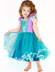 cheap -The Little Mermaid Cosplay Costume Flower Girl Dress Kid's Girls' A-Line Slip Dresses Christmas Halloween Carnival Festival / Holiday Tulle Cotton Green Carnival Costumes Mermaid