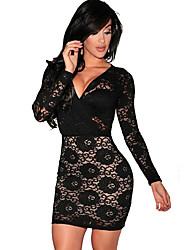 cheap -Women's Black Dress Basic Cocktail Party Sheath Deep V S M Slim High Waist / Sexy