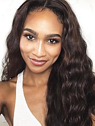 cheap -Remy Human Hair Lace Front Wig Asymmetrical Wendy style Brazilian Hair Loose Wave Loose Curl Dark Brown Brown Wig 150% Density Soft Women New Arrival Natural Hairline 100% Hand Tied Women's Long