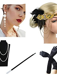 cheap -The Great Gatsby Charleston 1920s The Great Gatsby Costume Accessory Sets Flapper Headband Women's Tassel Costume Head Jewelry Pearl Necklace Black / Golden / Black & White Vintage Cosplay / Gloves