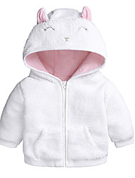 cheap -Baby Girls' Basic Daily Solid Colored Long Sleeve Regular Cotton Jacket & Coat White / Toddler