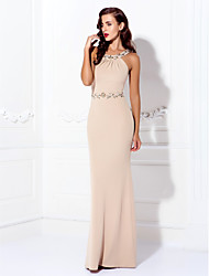 cheap -Sheath / Column Elegant Beautiful Back Minimalist Prom Formal Evening Dress Halter Neck Sleeveless Floor Length Spandex with Beading 2020