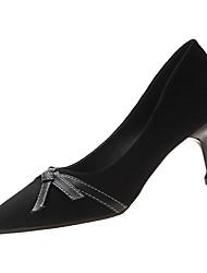 cheap -Women's Heels Kitten Heel Pointed Toe PU Minimalism Winter Black / Khaki / Daily
