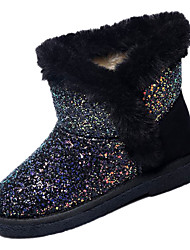 cheap -Women's Boots Flat Heel Round Toe Sequin Faux Fur / PU Mid-Calf Boots Casual Winter Black / Gray / Color Block