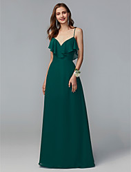 cheap -Sheath / Column Spaghetti Strap Floor Length Chiffon Bridesmaid Dress with Beading / Sequin / Ruffles