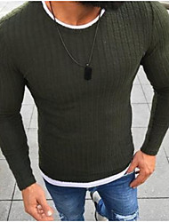 cheap -Men's Daily Basic Solid Colored Long Sleeve Slim Regular Pullover Sweater Jumper Black / Red / Green S / M / L