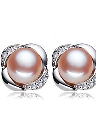 cheap -Freshwater Pearl Earrings Pearl Pink Pearl For Women's Round Glam Elegant Fashion Party Event / Party High Quality Flower Flower Series 1 Pair / S925 Sterling Silver