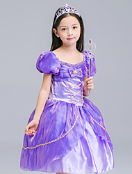 cheap -Princess Cosplay Costume Flower Girl Dress Kid's Girls' A-Line Slip Dresses Mesh Christmas Halloween Carnival Festival / Holiday Organza Cotton Purple Carnival Costumes Lace