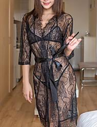 Недорогие -Жен. Кружева Сексуальные платья Костюм Ночное белье Однотонный Белый Черный Один размер