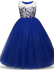 cheap -Princess Long Length Flower Girl Dress - Lace / Tulle Sleeveless Jewel Neck with Embroidery / Lace / Tier