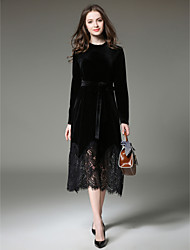 cheap -Women's Velvet Wine Black Dress Sophisticated Fall Daily Work Lace Solid Colored Lace S M Slim