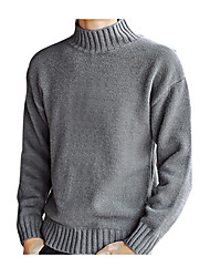 cheap -Men's Going out / Weekend Solid Colored Long Sleeve Regular Pullover Sweater Jumper, Turtleneck Black / Light Brown / White M / L / XL