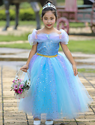 cheap -Cinderella Cosplay Costume Flower Girl Dress Kid's Girls' A-Line Slip Vacation Dress Halloween Christmas Halloween Carnival Festival / Holiday Tulle Cotton Blue / Pink Easy Carnival Costumes Princess