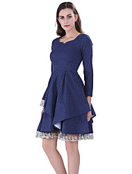 cheap -Audrey Hepburn Retro Vintage 1960s Wasp-Waisted Dress Women's Lace Costume Blue Vintage Cosplay Homecoming 3/4 Length Sleeve Knee Length