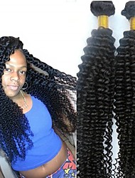 cheap -6 Bundles Peruvian Hair Kinky Curly Human Hair Unprocessed Human Hair Headpiece Natural Color Hair Weaves / Hair Bulk Hair Care 8-28 inch Natural Color Human Hair Weaves Silky Easy dressing Fashion