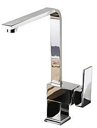 cheap -Kitchen faucet - Single Handle One Hole Chrome Pull-out / ­Pull-down / Standard Spout / Tall / ­High Arc Vessel Contemporary / Art Deco / Retro / Modern Kitchen Taps