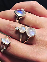 cheap -Women's Statement Ring Ring Set Multi Finger Ring Opal Moonstone 3pcs Silver Rhinestone Alloy Drops Ladies Luxury Unique Design Gift Daily Jewelry Retro Drop Cool