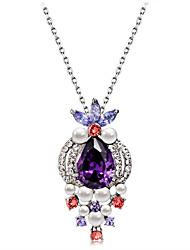 cheap -Women's Purple Crystal Amethyst Pendant Necklace Classic Romantic Fashion Elegant Imitation Pearl Imitation Diamond Austria Crystal Purple 43 cm Necklace Jewelry 1pc For Daily Formal