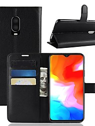 cheap -Case For OnePlus OnePlus 6 / One Plus 6T / One Plus 5 Wallet / Card Holder / Flip Full Body Cases Solid Colored Hard PU Leather